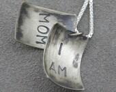 Faux Locket - I am Mom - Silver Necklace - Self- Affirmation