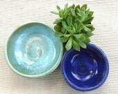 Set of two wheel thrown earthenwware nesting bowls, cobalt blue, sea foam green, food safe, home decor
