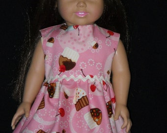 Birthday Party Dress American Girl 18 inch Doll Dress Handmade Pink with Cup Cakes