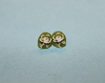 Tiny Green Flower Cameo Earrings