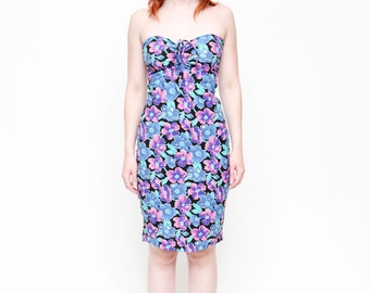 Vintage Floral 80's Wiggle Strapless Pencil Bodycon Midi Dress - Size Small/Medium