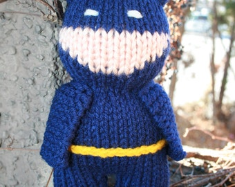 Ready to Ship -Hand Knit Batman -8 inch -soft stuffed toy doll- comic book hero