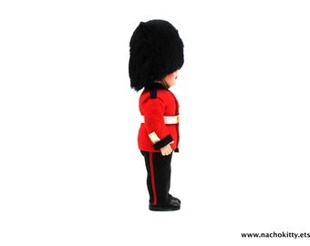 1950s English Beefeater Guard Doll Wool Uniform, Fuzzy Hat