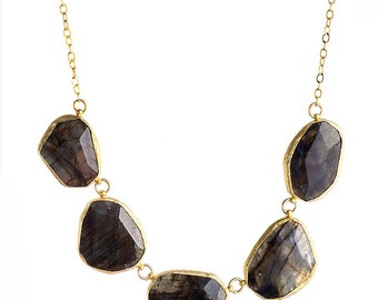 Grey Labrodorite Irregular Stone Slabs Necklace