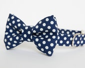 Bow Tie Dog Collar - Navy Polka Dots