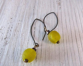 LEMON DROP Glass Earring,  Recycled Glass Beaded Earrings
