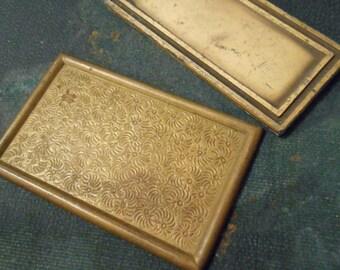 2 brass flatback settings or frames - vintage old new stock heav brass