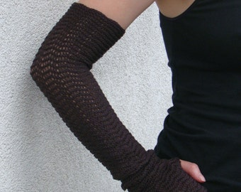Arm Warmers Mittens Fingerless Gloves Brown Merino Perfect Gift Mitaines en Laine Zigzag Wrist Warmers