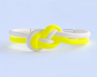Neon yellow and white infinity knot parachute cord rope bracelet