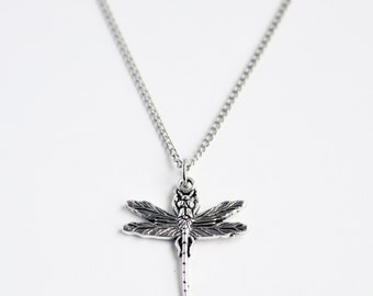 Silver dragonfly delicate minimal charm necklace on silver chain // Inspired by Coheed and Cambria