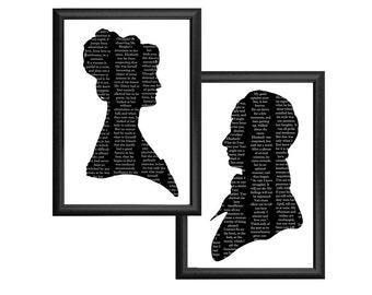 Pride And Prejudice Elizabeth Bennet Mr. Darcy Silhouette Print Set Black and White Quote Jane Austen
