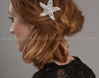 Rhinestone Starfish Hair Comb, Beach Wedding Hairpiece - Raelyn