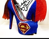 SUPERMAN | Supergirl | DC Comics | Superhero | Shoe Design for Heels made with Crystal Rhinestones & Glitter