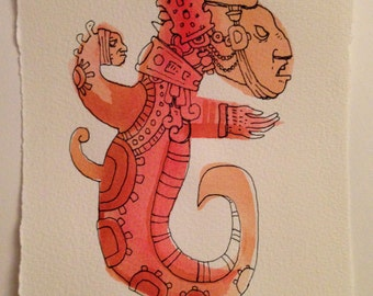 Snake Man 4 (inspired by mayan and aztec art)