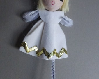 Vintage Spun Cotton Head Angel with Mercury Glass Bead Halo  NOS