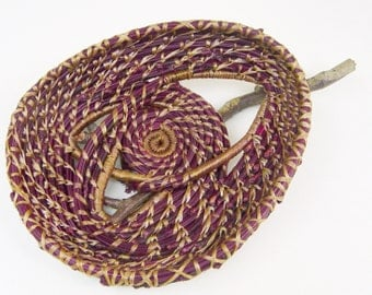 Basket, Pine Needle, Birdnest on stick, burgundy wine, tan, coiled, twisted, Woven Wall Hanging
