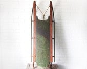 Antique Wooden Sled - 'Victor' Primitive Wood Snow Sled - Rustic Winter Decor - Children's Sled - Christmas - Wrought Iron Rails