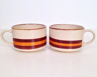 vintage mug - striped stoneware mugs - set of 2