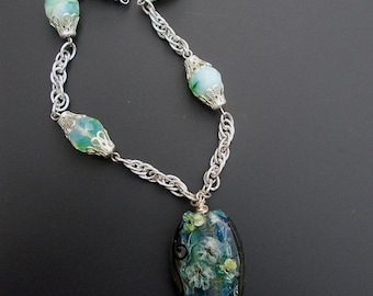 Necklace Green Lampwork Glass Bead Focal Lily Pond Flower Vintage Givre Beads