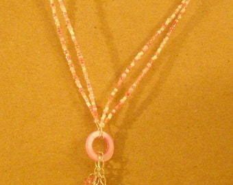Pink Dangling Butterflies Necklace