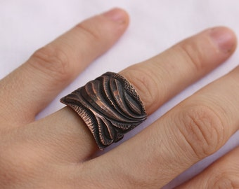 Ring Texture made of Sterling silver and copper - Made to order in your size - Metalsmith