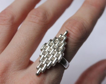 Statement ring made of  Sterling silver, beautiful rhombus ring made to order in your size