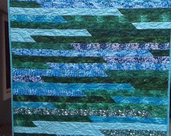 Reduced Quilt Blue Green Jelly Roll Strip