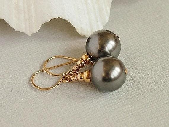 Dark Grey Pearl Earrings, Glass Bead Earrings, Gold Filled, Swarovski, CINEREAL