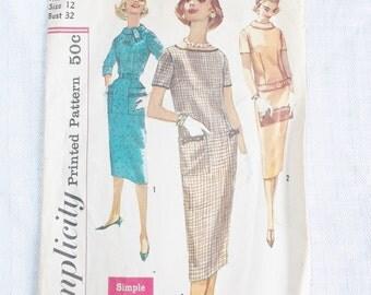 1950's Vintage Sheath Wiggle Dress Pattern Simplicity 2618 32 Inch Bust XS