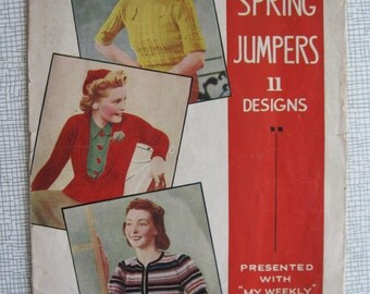 1930s My Weekly  Spring Jumpers Knitting Booklet - 11 Designs - Coatee Cardigan, Cap - PDF