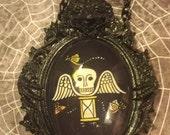 Gargoyle setting with Winged Skull hourglass image Necklace (free shipping code)