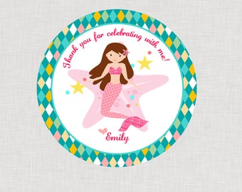 Mermaid Happy Birthday Favor Tags or Stickers Printable File PDF