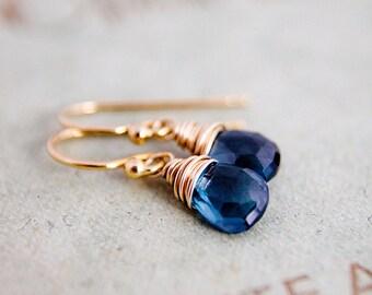 Gold Drop Earrings Birthstone Gemstone Jewelry London Blue Topaz Dangle PoleStar