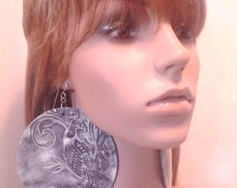 Embellished Dark Blue Denim Round Fabric Earrings, Large Fabric Earrings, Women Earrings, Large Earrings, Big Earrings
