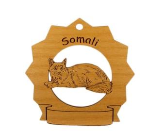 7419 Somali Cat Personalized Wood Ornament