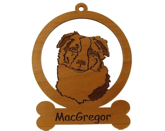 Australian Shepherd Head Ornament 081385 Personalized With Your Dog's Name