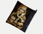 Jasmine Becket-Griffith Candle in the Dark, zippered pouch, cosmetics makeup bag wristlet, travel bag,