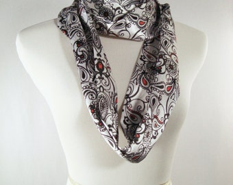 Infinity Scarf - Waterfall Scarf -  White Black Red Paisley Print Scarf - Silky Satin - Long Cowl - Dressy Scarf - Shiny Scarf