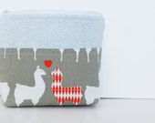 Llama Love Small Zipper Bag (zipper pouch, make up pouch, cosmetic bag, purse organizer)