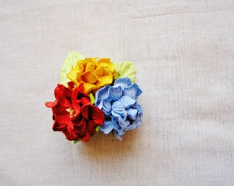 Cherry red, Periwinkle blue and Saffron Mixed bunch Vintage style Millinery Flower spray Bouquet- corsage, floral shabby chic 31314 OOAK