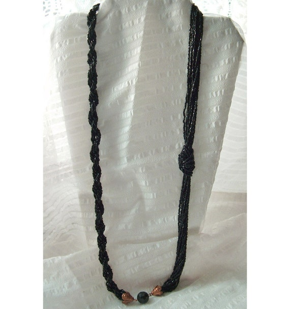 Vintage Black Seed Bead Necklace / Two Sided Asymmetrical
