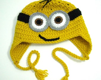 Despicable Me Inspired Minion Hat, Earflap Beanie
