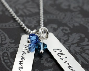 Personalized Birthstone Necklace for Mom of Two - Handstamped Names and Birthstone Crystals - Mother's Jewelry Gift