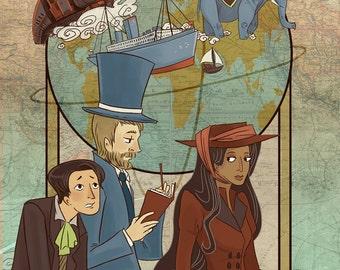 Around the World in 80 Days 12x18 original literary art poster