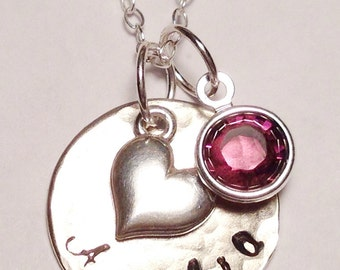 Sterling Silver Personalized Birthstone Necklace with Heart Charm and Birthstone-Hand Stamped Necklace