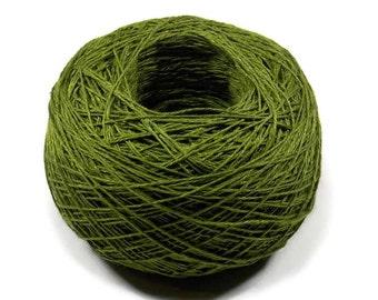 Crochet Thread 3 Ply Linen Thread Olive Green Linen Yarn Natural Fiber Tatting Thread Specialty Thread