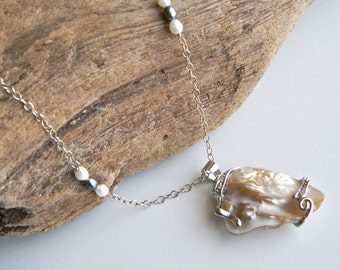 Blister Pearl Necklace with Freshwater Pearl Sterling Chain