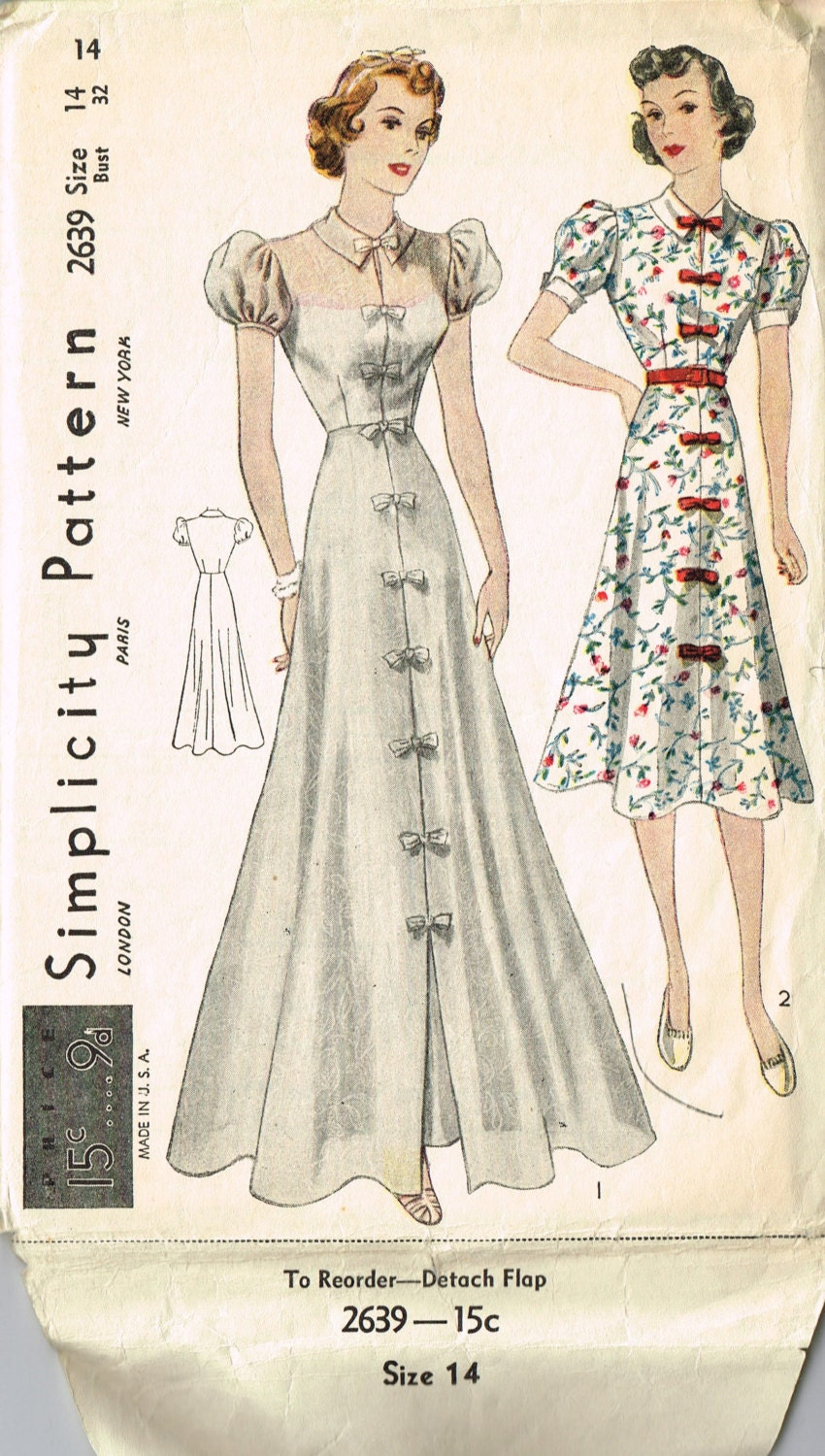 Reduced VINTAGE Simplicity 1930s Junior Miss Daytime or PARTY