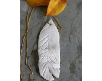 Porcelain pendant | Unglazed Ceramic Charm | Handmade Stoneware Necklace | Unique Handmade Necklace  | White Porcelain Jewelry