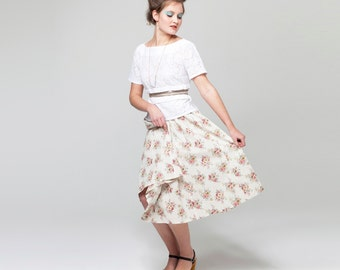 Full Skirt - Hay Bale Linen Skirt in Country Blooms